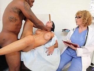Jadan Snow Gets Her Pussy Fingered By Dr. Sara Jay Before Rome Major Deep Strokes His Huge Cock in Her | before  cocks  deepthroat  getting  huge gay